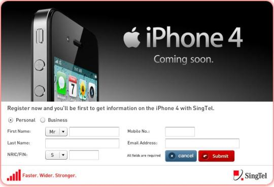 Register Your Interest on iPhone 4 with Singtel Now ...