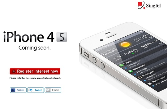 Register Your Interest on iPhone 4s with SingTel Now ...