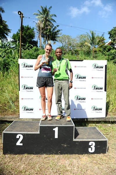 Overall winners Rosie Clarke and Samson Tenai